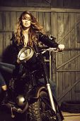 Motorcycling, Hobby And Lifestyle, Pretty Girl Biker Or Sexy Woman With Blond, Long Hair In Leather  poster