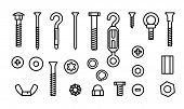 Simple Set Construction Hardware Vector Line Icons. Screws, Bolts, Nuts And Rivets. Equipment Stainl poster