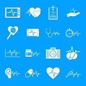 Heart Pulse Beat Icons Set. Simple Illustration Of 25 Heart Pulse Beat Icons For Web poster