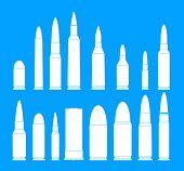 Bullet Gun Military Icons Set. Simple Illustration Of 16 Bullet Gun Military Icons For Web poster