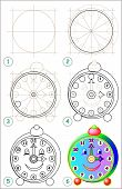 Page Shows How To Learn Step By Step To Draw Clock. Developing Children Skills For Drawing And Color poster