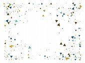 Star Blast, Glass Memphis Vector Frame. Explosion, Triangle Flying Particles Grunge Border Design. B poster