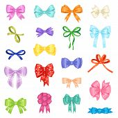 Bow Vector Bowknot Or Ribbon For Decorating Gifts On Christmas Or Birtrhday Party Illustration Set E poster