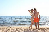 Happy Young Couple In Beachwear Posing On Seashore poster