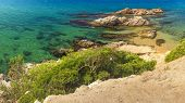 Summer Beach With Turquoise Water. Spanish Beach In Mediterranean Sea, Costa Brava, Spain. Rocks On poster