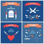 International Day Against Drug Posters. Awareness Prevention With Syringe Needle Drawing Cardiogram, poster