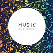Music Background With Colorful Music Notes And G-clef Vector Illustration Design. Artistic Music Fes poster