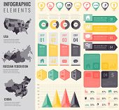 Infographic Elements Set With Maps Of The Countries Usa, China, Russian Federation. Business Infogra poster