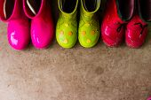 Kids Bright Pink, Red, Green Rubber Boots, Gardening, Boots. Rainy Day Fashion.garden Rainy Rubber S poster