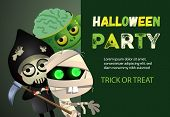 Halloween Party Trick Or Treat Zombie Poster Inscription With Cartoon Characters Of Zombie Monster,  poster