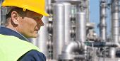 foto of hard_hat  - Close up of an engineer wearing a safety vest - JPG