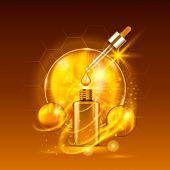 Vital Serum Golden Dropper Bottle On Light Brown Background. Vitamin Formula Treatment Design. Adver poster