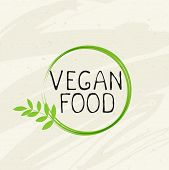 Vegan Food Label Icon Emblem.natural Product 100 Bio Healthy Organic Label And High Quality Product  poster