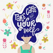 Woman With Big Hair And Lettering Take Care Of Yourself. Flat Style Vector Illustration With Handwri poster