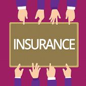Handwriting Text Writing Insurance. Concept Meaning Arrangement Company Or State To Guarantee For Sp poster