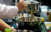 Chef Preparing Food, Meal, In The Kitchen, Chef Cooking, Chef Decorating Dish, Closeup,  Chef At Wor poster