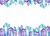 Clear Purple Blue Space Universe Color Amethyst Quartz Crystal Cluster Gems Family Frame Watercolor  poster