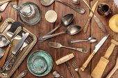 An Overhead Photo Of Many Vintage Kitchen Objects And Cutlery From An Old Restaurant, Flea Market St poster