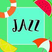 Handwriting Text Writing Jazz. Concept Meaning Forceful Rhythm Using Brass And Woodwind Instruments  poster