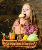 Kid Girl Near Basket Full Of Fresh Vegetables Harvest Rustic Style. Harvest Festival Concept. Farm M poster