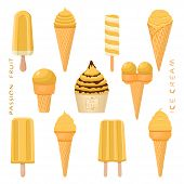 Vector Illustration For Natural Passion Fruit Ice Cream On Stick, In Paper Bowls, Wafer Cones. Ice C poster