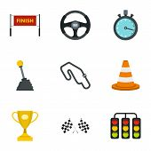 Motor Race Icons Set. Flat Illustration Of 9 Motor Race Icons For Web poster
