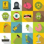 Zombie Icons Set Parts. Flat Illustration Of 16 Zombie Parts Icons For Web poster