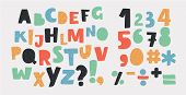 Vector Cartoon Of Bright Alphabet Set. Stylish Letters And Numbers In Different Modern Colors. Carto poster