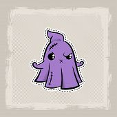 Halloween Stitch Ghost, Phantom Zombie Voodoo Doll. Evil Sewing Monster. Cute Colored Vector Halfton poster