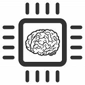 Vector Neural Chip Illustration. An Isolated Illustration On A White Background. poster