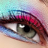 Beauty, Cosmetics And Makeup. Magic Eyes Look With Bright Makeup. Macro Shot Of Beautiful Womans Fa poster