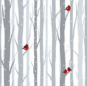 Vector Illustration Of Seamless Pattern With Grey Trees Birches And Red Birds In Winter Time With Sn poster
