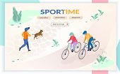 Sport Time Flat Vector Web Banner With People Running, Playing With Dog, Riding Bicycle In City Park poster