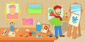 Artist Horizontal Banner Concept Workshop. Cartoon Illustration Of Artist Workshop Studio Horizontal poster