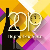 2019 Happy New Year. Greeting Card With Bottle Of Champagne And Glass On Abstract Background. Number poster