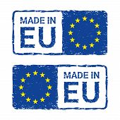 Made In European Union, Eu Vector Letter Stamp. Vector Ilustration Of Letter Rubber Stamp With A Eur poster
