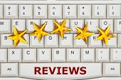 Reviews On The Internet, A Close-up Of A Keyboard With Five Gold Stars With Text Reviews poster