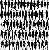 stock photo of young adult  - Vector silhouette Lots of glamor female models - JPG
