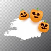 Halloween Web White Grunge Cartoon Banner Or Poster With Halloween Scary Pumpkins Isolated On Transp poster