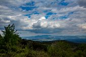 Beautiful Springtime Landscape Taken From Rhodope Mountain, Bulgaria. High Contrast Cloudy Sky With  poster