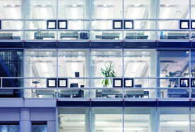 picture of building exterior  - Cubicles in a modern office building - JPG