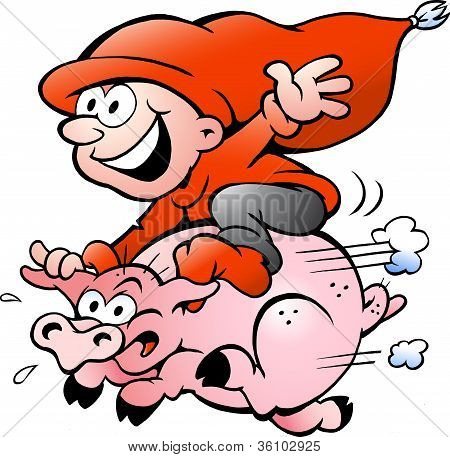Hand-drawn Vector Illustration Of Elf Riding On A Pig