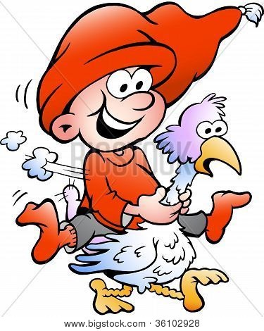 Hand-drawn Vector Illustration Of Elf Riding On A Goose
