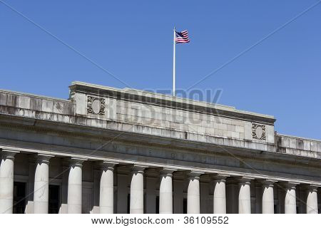 Justice building and flag