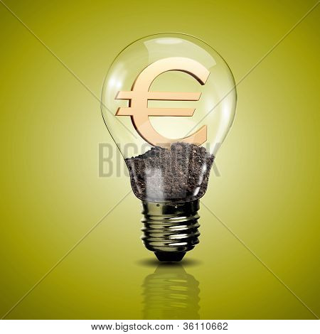 Electric light bulb and currency symbol inside it