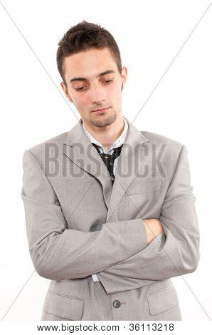 Sad Handsome Young Caucasian Businessman