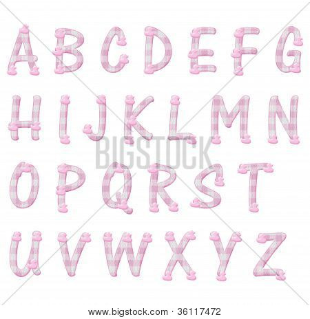 Pink Gingham And Ducks Alphabet Letters