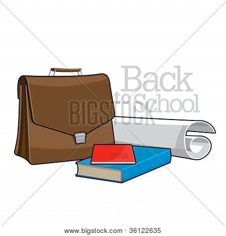 Libros y maletín marrón
