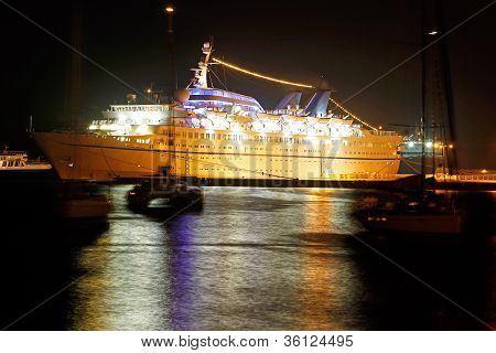 Cruise Ship At Night, Rhodes, Greece
