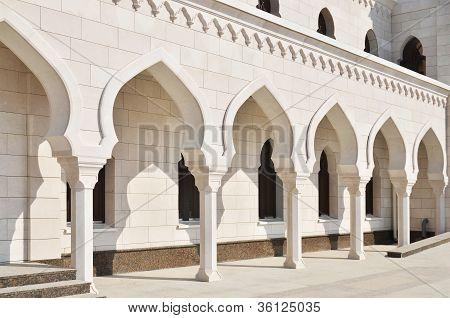 Arched Corridor In White Mosque In Tatarstan, Russia